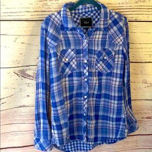 RAILS small bright blue flannel